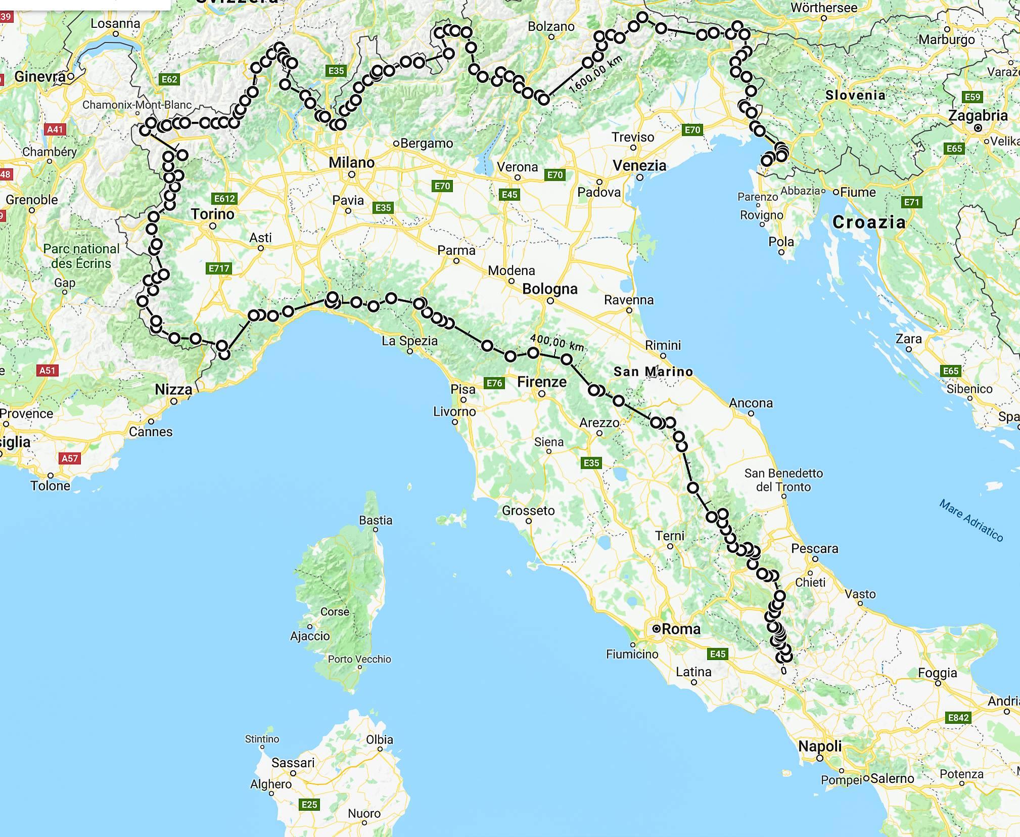Cartina Dellitalia Alpi E Appennini.Traversata In Solitaria Di Alpi Ed Appennini Storieitaliane Mytripmap