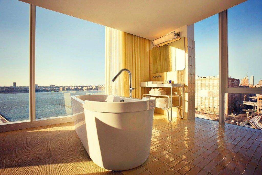 Vasca da bagno hotel vista su New York